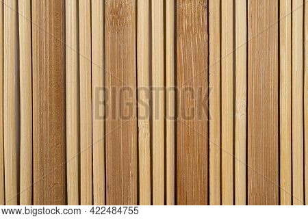 Bamboo Mat, May Be Used As Background, High Quality Image, Closeup Wooden Background Of Beige Bamboo