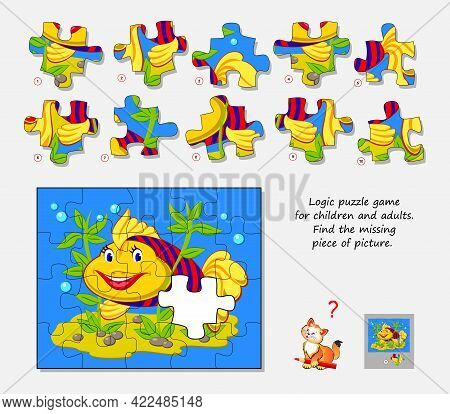Logic Puzzle Game For Children And Adults. Find The Missing Piece Of Picture. Page For Kids Brain Te