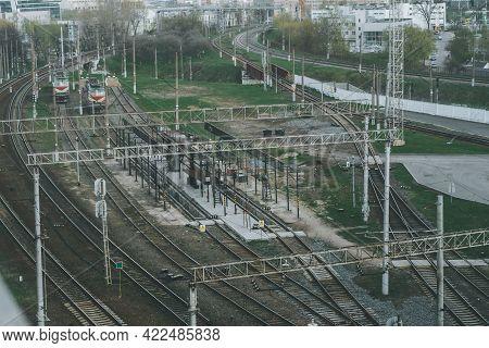 Railway Junction With Many Train Tracks, Near Railway Station In City
