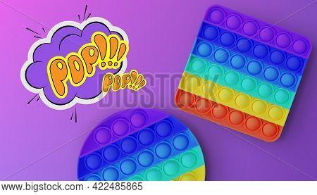 New Popular Sensory Anti-stress Toy - Pop It. Advertising Flyer. Vector.