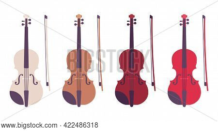Violin Set With Bow, Bowed Stringed Musical Instrument Set. Beautiful Band, Orchestra Playing Music