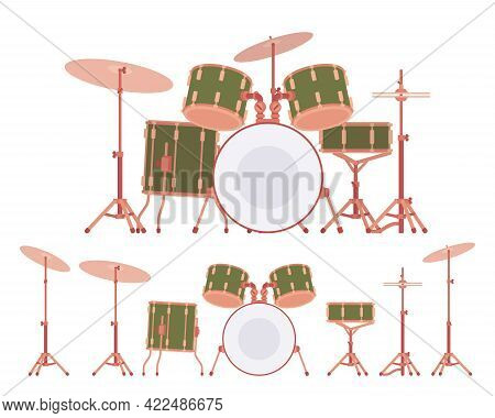 Complete Drum Set With Cymbals And Stands. Percussion Instruments For Training, Stage Performance. V
