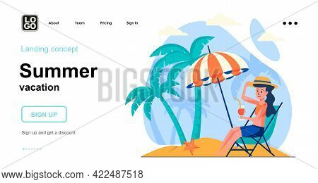 Summer Vacation Web Concept. Woman Sunbathes In Lounger Under Umbrella, Resting At Seaside Resort. T