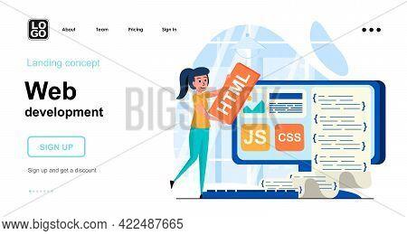 Web Development Concept. Woman Creates Layout Of Webpage, Customization And Process Optimization. Te