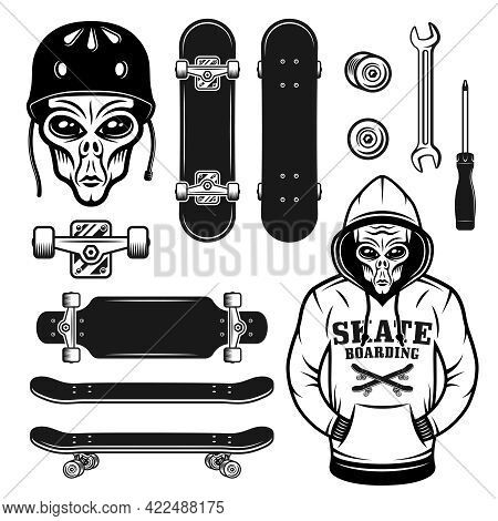 Alien And Skateboarding Set Of Vector Objects Or Design Elements With Alien In Hoodie And Protection