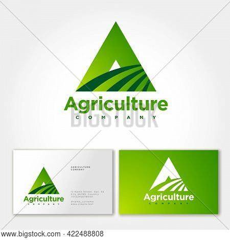 Agriculture Company Logo. A Monogram. Triangle Letter A And Field Symbol. Business Card. Emblem For