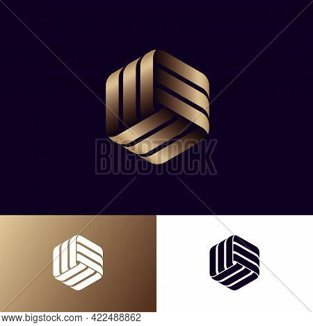 Abstract Logo. Three Golden Ribbons, Intertwined Elements, Infinity, Looping, Rotation, Solid Figure