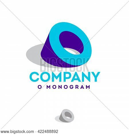 Letter O As A Piece Of Tube Or Ring. Blue-purple O Monogram. Emblem Can Use For Business, Industry,