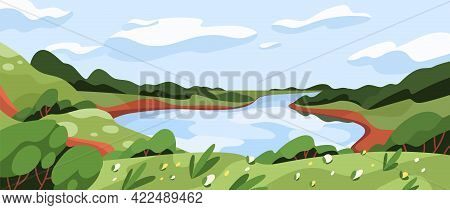 Wild Nature Landscape With Green Grass, Water, Sky, And Clouds. Panoramic Summer Scenery With River,