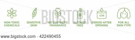 Natural And Organic Cosmetic Line Icons Set. Skincare Symbol. Allergen Free Badges. Beauty Product.