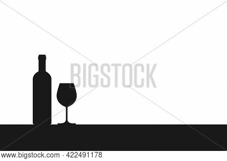Wine Bottle And Wine Glass Silhouette On The Table. Symbol Tasting Or Presentation Of Wine Isolated