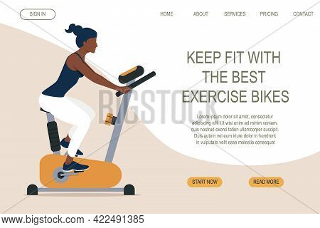 Sporty Slim Woman On Exercise Bike. Web Page Design For Sports Activities, Active Lifestyle. Workout