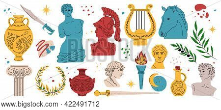 Modern Style Antique Greek Sculpture Set. Heads Of Woman, Knight, Horse. Branch, Amphora, Hand. Myth