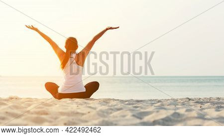 Lifestyle Woman Worm Up Raise Arm Before Pose For Healthy Life. Young People Sitting Yoga Exercise A