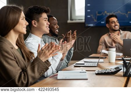 Successful Meeting. Colleagues Having Training In Boardroom, Clapping Hands