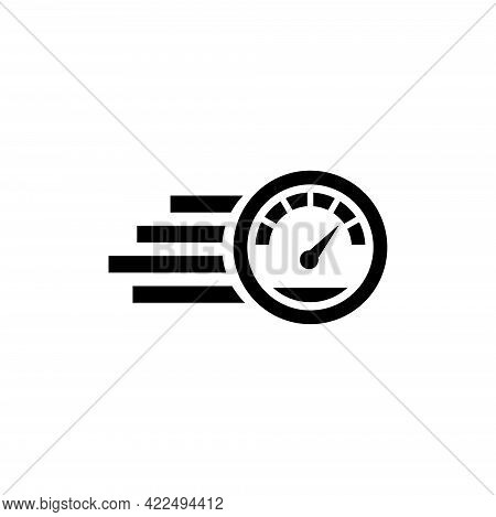 Fast Speedometer, High Speed. Flat Vector Icon Illustration. Simple Black Symbol On White Background