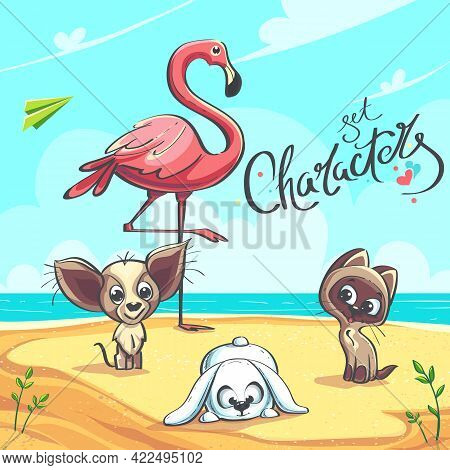 Characters Set - Vector Illustration. Flamingo, Puppy, Kitten On The Seashore. For Print On Demand,