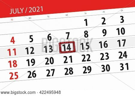 Calendar Planner For The Month July 2021, Deadline Day, 14, Wednesday