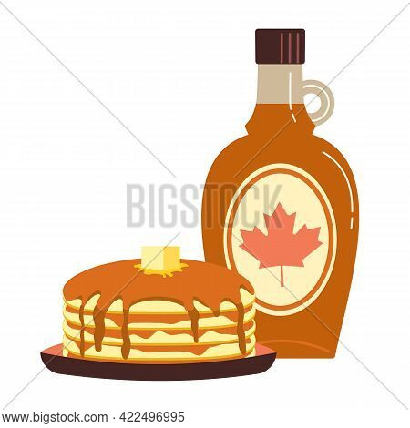 Maple Syrup Topping On Pancakes Flat Color Vector Icon. Fresh Tasty Hot Pancakes, Sweet Maple Syrup