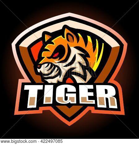Vector Illustration Of Tiger Mascot Esport Logo Design