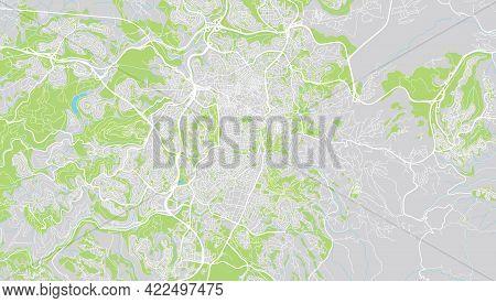 Urban Vector City Map Of Jerusalem, Israel, Middle East