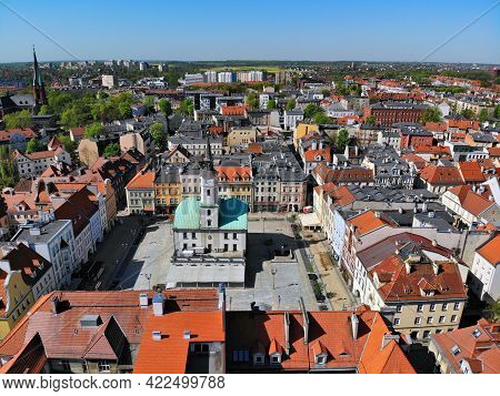 Gliwice City In Poland. Gliwice City Hall At The Main City Square - Rynek. Drone View.