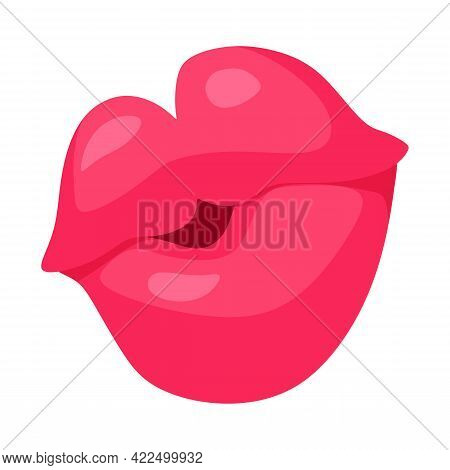 Vector Illustration Of Woman Lips, Hot Kiss. Female Pink Kiss With Lipstick Makeup. Female Lipstick