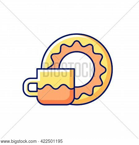 Cup And Saucer Set Rgb Color Icon. Isolated Vector Illustration. Dinning Accessories For Tea Party.