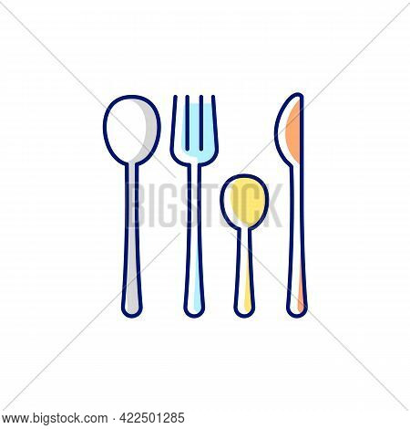 Forks, Knives And Spoons Rgb Color Icon. Isolated Vector Illustration. Dinner Accessories For Eating