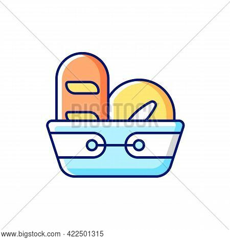 Bread Basket Rgb Color Icon. Isolated Vector Illustration. Container For Storing Bakery Products. Sp