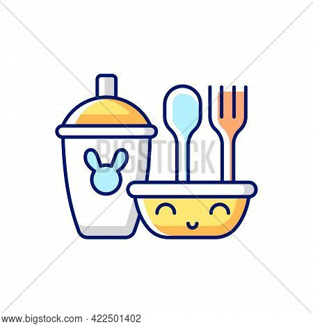 Kids Dinnerware Rgb Color Icon. Isolated Vector Illustration. Plates Created For Children To Eat Com