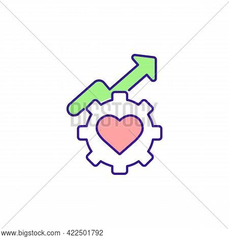 Health And Wellbeing Improvement Rgb Color Icon. Healthcare Equity And Quality. Isolated Vector Illu