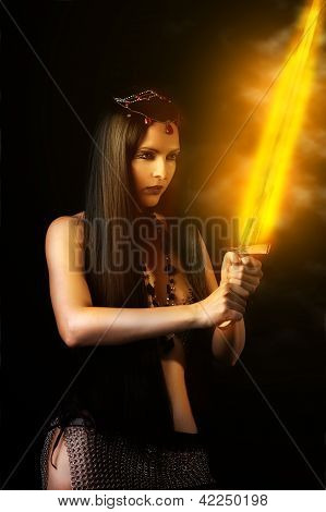 Sexy Woman Warrior With Fire Sword