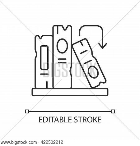 Book On Shelf Linear Icon. Search For Information. Solving Puzzles. Arrange Book Covers. Thin Line C