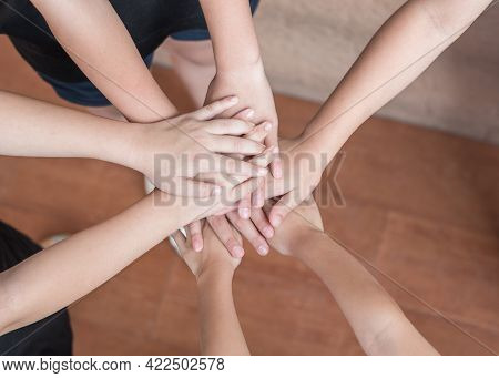 Community Teamwork, School Children Collaboration Unity Among Young Teenager Partners Or Kids Volunt