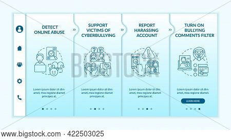 Cyberharassment Prevention Steps Onboarding Vector Template. Responsive Mobile Website With Icons. W