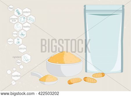 Silkworm Pupa Powder Insects For Eating As Food Edible Processed Made Of Cooked Insect In Packaging