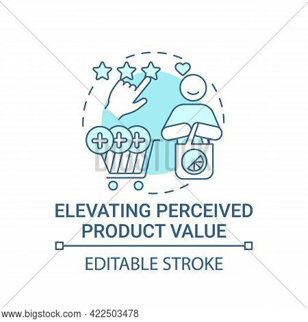 Elevating Perceived Product Value Concept Icon. Strong Brand Abstract Idea Thin Line Illustration. B