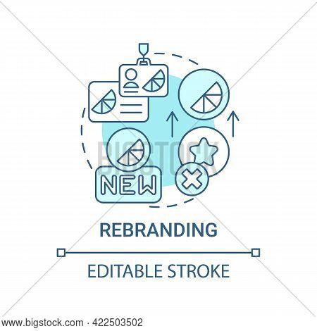 Rebranding Concept Icon. Brand Change Type Abstract Idea Thin Line Illustration. Improving Product R