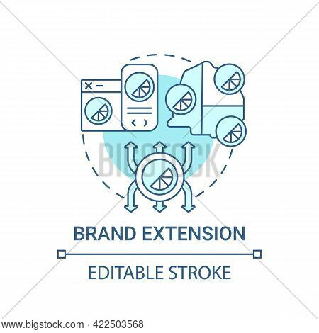 Brand Extension Concept Icon. Brand Change Type Abstract Idea Thin Line Illustration. Launching New