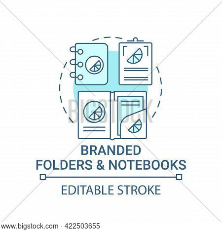 Branded Folders And Notebooks Concept Icon. Corporate Branding Abstract Idea Thin Line Illustration.
