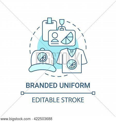 Branded Uniform Concept Icon. Corporate Branding Material Abstract Idea Thin Line Illustration. Prom