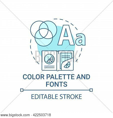 Color Palette And Fonts Concept Icon. Branding Abstract Idea Thin Line Illustration. Distinguishing