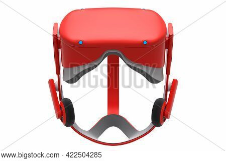 Virtual Red Reality Glasses Isolated On White Background. 3d Rendering Of Goggles For Virtual Design