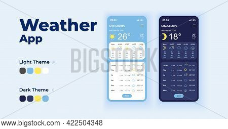 Daily Forecasts Cartoon Smartphone Interface Vector Templates Set. Mobile App Screen Page Night And