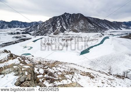 The Confluence Of Chuya And Katun Rivers, Famous Travel Destination In Altai, Siberia, Russia