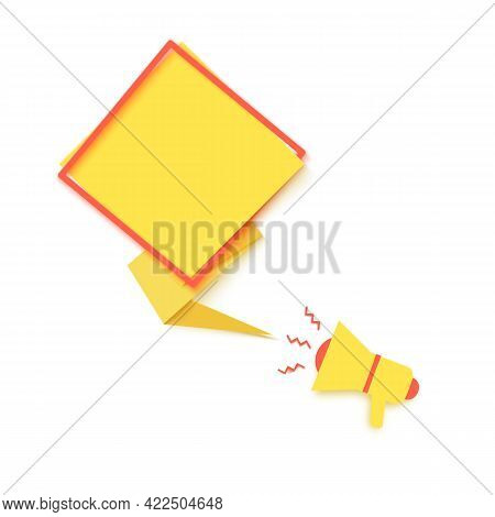 Yellow Speech Bubble And Megaphone In Paper Cut Art. Memphis Style Banner With Red Rhombus Frame And