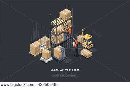 3d Isometric Composition. Vector Cartoon Illustration With Text. Measuring Weight Of Goods With Scal