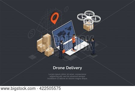Isometric Illustration. Vector Composition With 3d Objects. Cartoon Style Design. Drone Package Air