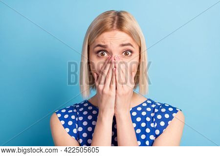 Photo Of Young Attractive Girl Cover Mouth Hands Unhappy Negative Worried Anxious Nervous Fail Isola